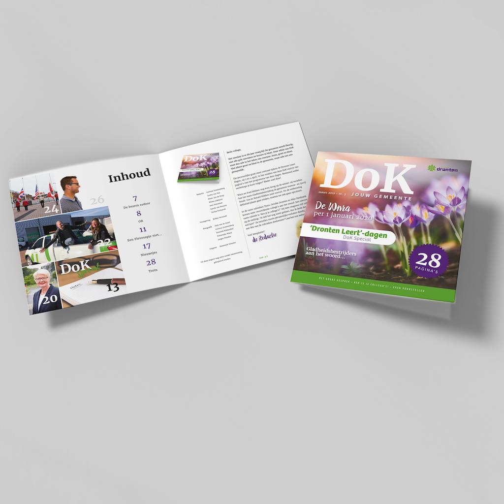 Vormgeving en tekstschrijven personeelsmagazine gemeente Dronten