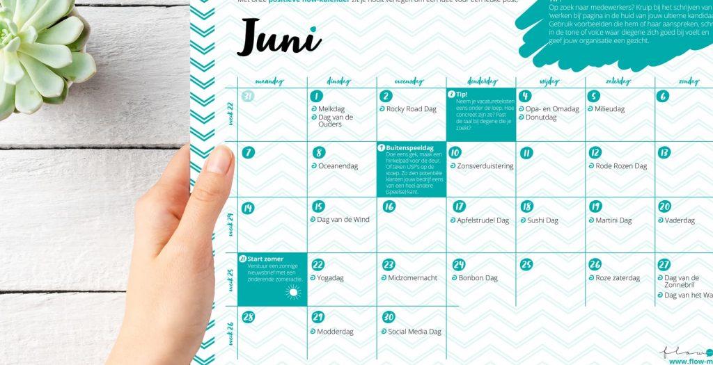 Flow Media - positieve flow kalender juni